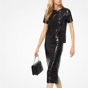 NWT - MICHAEL KORS Sequined Jersey T-Shirt
